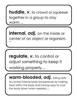 Core Knowledge 3rd grade Domain 2, Unit 2 Classification of Animals Vocabulary