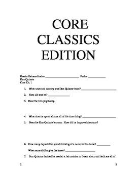 Core Knowledge 5th Grade Don Quixote Core Classics Chapters 1-5 Study Guides
