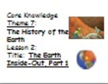 Core Knowledge First grade Unit 7 History of the Earth CCSS Vocabulary Cards