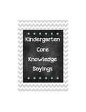 Core Knowledge Kindergarten Sayings