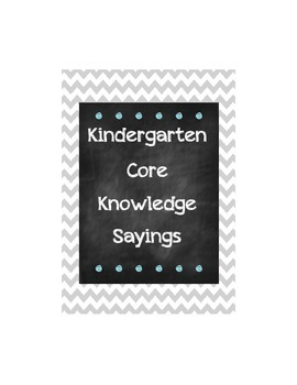 Core Knowledge Kindergarten Sayings
