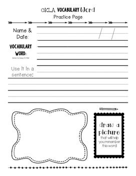 Core Knowledge Language Arts Vocabulary Practice Page [[Editable]]