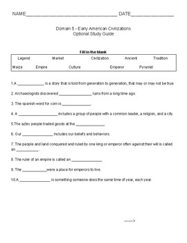 Core Knowledge Study Guide Domain 5 Early American Civlizations - 1st Grade