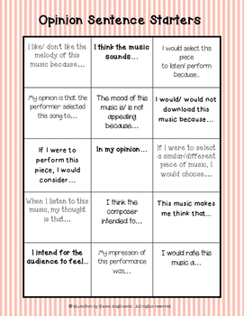 Core Music Standards: Opinion/ Selecting through Writing
