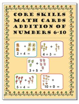 Core Skills - Early Learning - Addition Math Cards – numbers 6-10