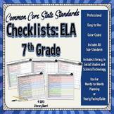 COMMON CORE STANDARDS: 7th Grade ELA Checklists (Color-Coded)