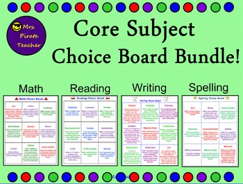 Core Subject Choice Boards and Activities Bundle!