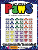 Core Values PAWS Editable Template