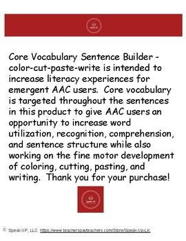 Core Vocab Sentence Builder