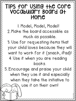 Core Vocabulary Activities for Home