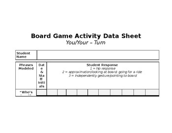 Core Vocabulary Activity for Board Games