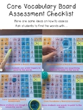 Core Vocabulary Board Word Assessment Checklist Freebie
