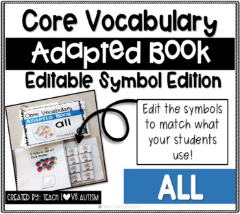 Core Vocabulary Editable Symbol Adapted Book: ALL
