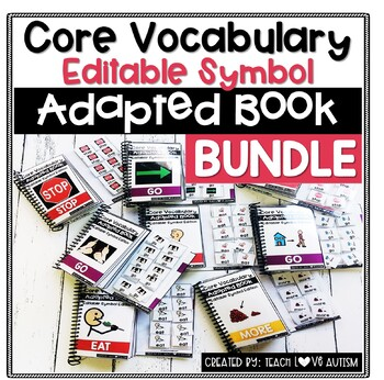 Core Vocabulary Editable Symbol Adapted Book BUNDLE