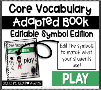 Core Vocabulary Editable Symbol Adapted Book: PLAY