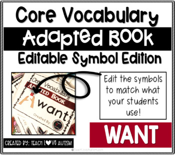 Core Vocabulary Editable Symbol Adapted Book: WANT