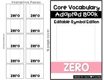 Core Vocabulary Editable Symbol Adapted Book: ZERO