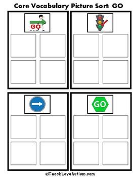 Core Vocabulary File Folders: STOP & GO