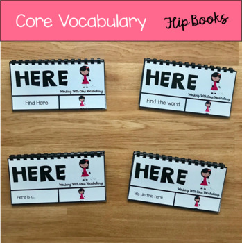 """Core Vocabulary Flip Books:  """"Working With the Word Here"""""""