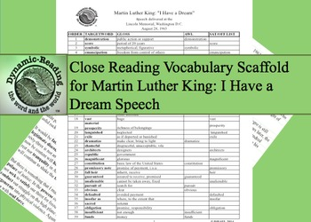"""Core Vocabulary List for Martin Luther King """"I Have A Dream Speech"""""""