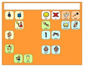Core Vocabulary Boardmaker Placemats- assistive technology, aac, speech