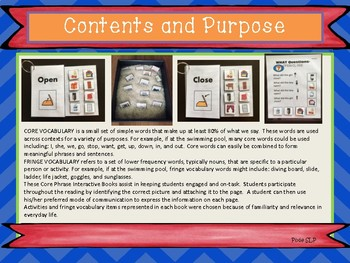 Core Vocabulary Word Pair Interactive Books and Activities- Open & Close