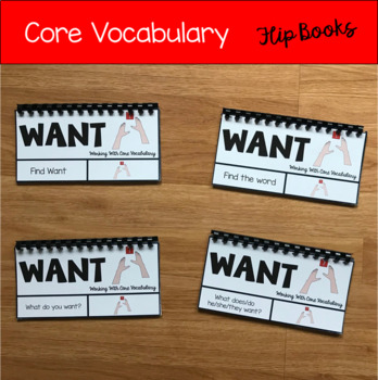 Core Vocabulary Words Flip Books:  (Working With the Word Want)