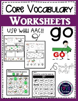 Core Vocabulary Worksheets: GO