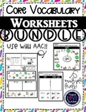 Core Vocabulary & Sight Word Worksheets
