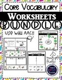 Multi-sensory Core Vocabulary & Sight Word Worksheets
