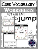 Core Vocabulary Worksheets: JUMP