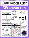 Core Vocabulary Worksheets: No-Not