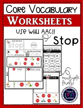 Core Vocabulary Worksheets: STOP