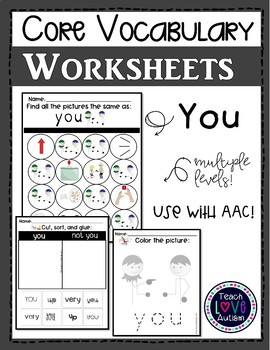Core Vocabulary Worksheets: You