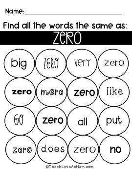 Core Vocabulary Worksheets: Zero