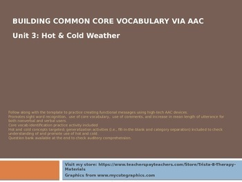 Core Vocabulary for AAC Users & Nonverbal Students: Unit 3 Weather