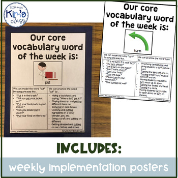 Core Vocabulary for a Year- Includes Posters, Communication Boards &Mini-Posters
