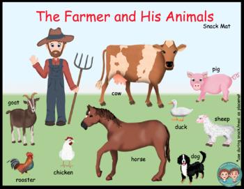 Core Word & Conversation Snack Mats:  Farm Animals