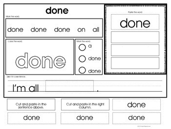 Core Word Identification & Word Work Printables (Special Ed. Core Vocabulary)