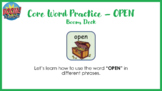 Core Word Practice - OPEN with Boom Cards