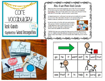 Core Word Task Cards: SymbolStix