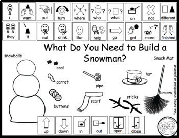 Core Word and Conversation Snack Mats: Let's Build a Snowman