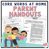 *Editable* Core Words at Home: Parent Handouts