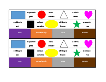 Cores e Formas (Colors and Shapes in Portuguese) Desk strips