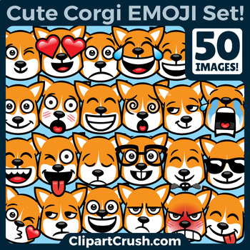 Corgi Emoji Clipart Faces / Pembroke Welsh Corgi Dog Emojis Emotions Expressions
