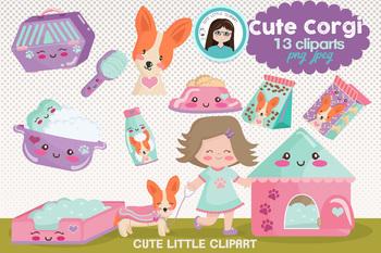 Corgi cute cliparts