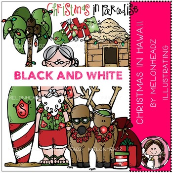 Melonheadz: Christmas in Hawaii clip art - BLACK AND WHITE