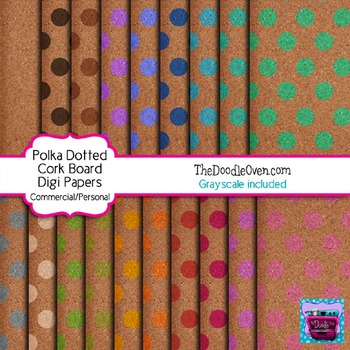 Cork Board with Polka Dots Digital Paper