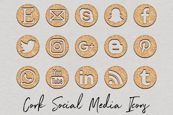 Cork Social Media Icons Set