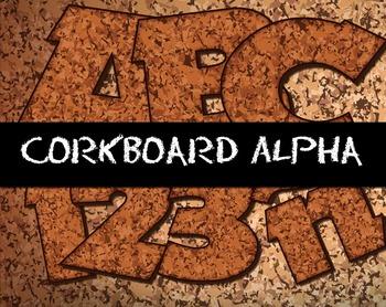 "Corkboard Alphabet! -  98 pcs  - 150 DPI - PDF & PNGs - 3"""